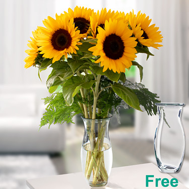 Bunch of 7 sunflowers with vase