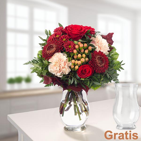 Blumenstrauß Herbstgedicht mit Vase