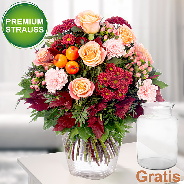 Premiumstrauß Herbstzeit mit Premiumvase