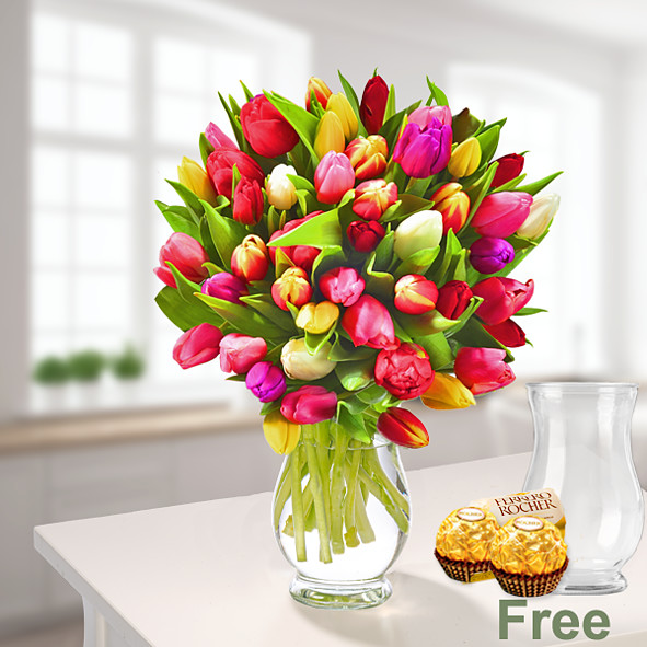 Tulips in a bunch with vase & 2 Ferrero Rocher