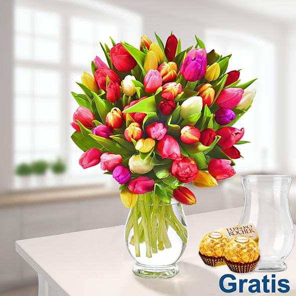 Tulpen im Bund mit Vase & 2 Ferrero Rocher
