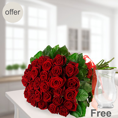 Bunch of 20 red roses with vase