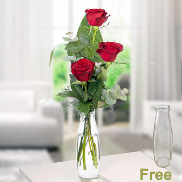 Rose Trio Serenade with vase