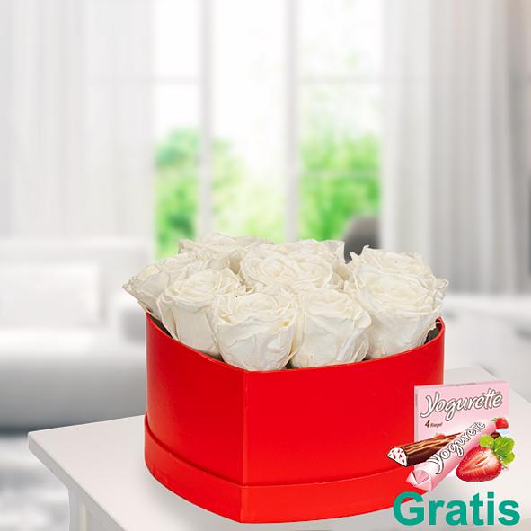 9 weiße haltbare Rosen in roter Herz-Box mit Ferrero Yogurette