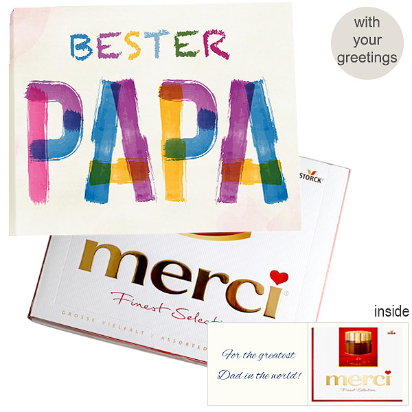 Personal greeting card with Merci: Bester Papa (250g)