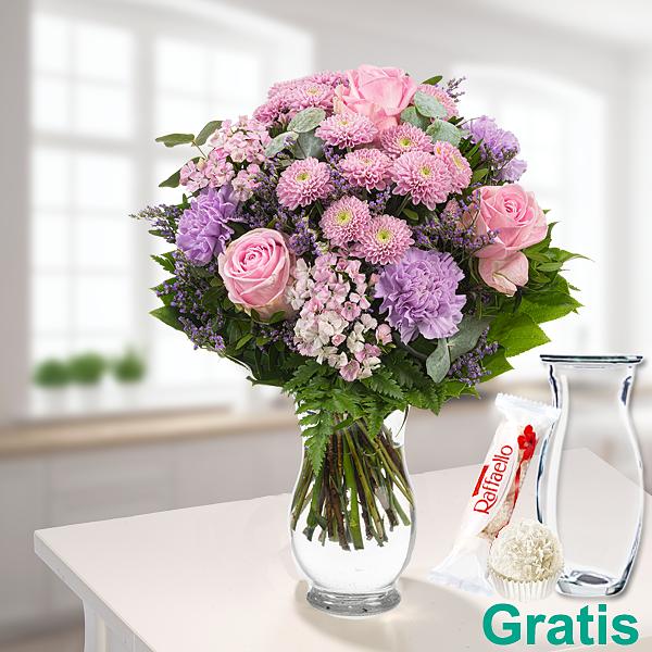 Blumenstrauß Süße Sommerfreude mit Vase & Ferrero Raffaello