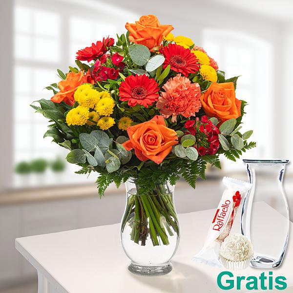 Blumenstrauß Sommertanz mit Vase & Ferrero Raffaello