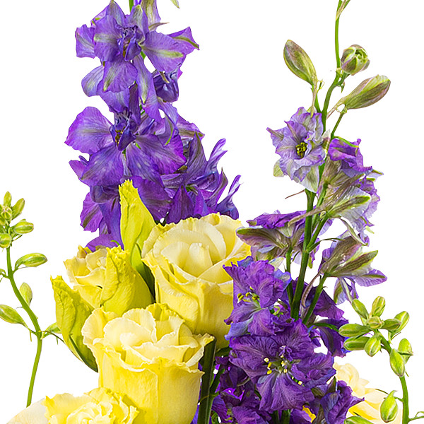 Blumenstrauß Sunny Day mit Vase & Ferrero Raffaello