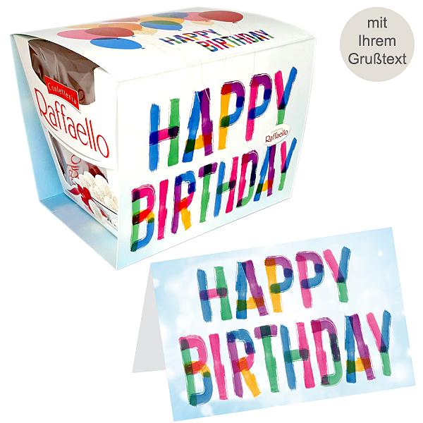 Persönliche Grußkarte mit Ferrero Raffaello: Happy Birthday