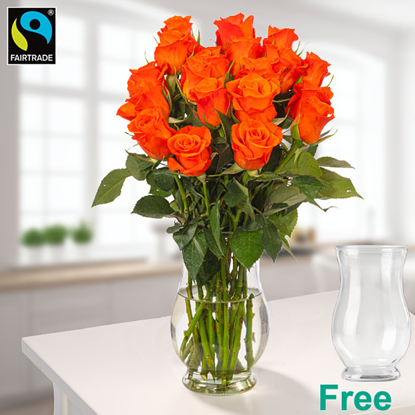 20 orange Fairtrade roses in a bunch with vase