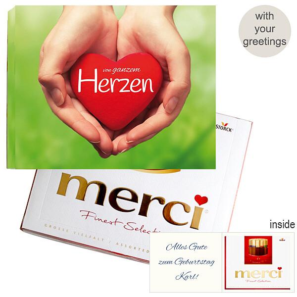 Personal greeting card with Merci: Von ganzem Herzen (250g)