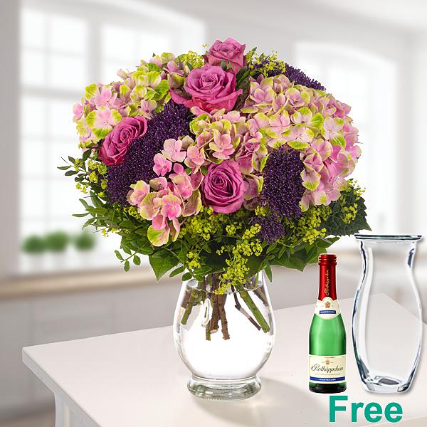 Flower Bouquet Sommerspiel with vase & Rotkäppchen sparkling wine