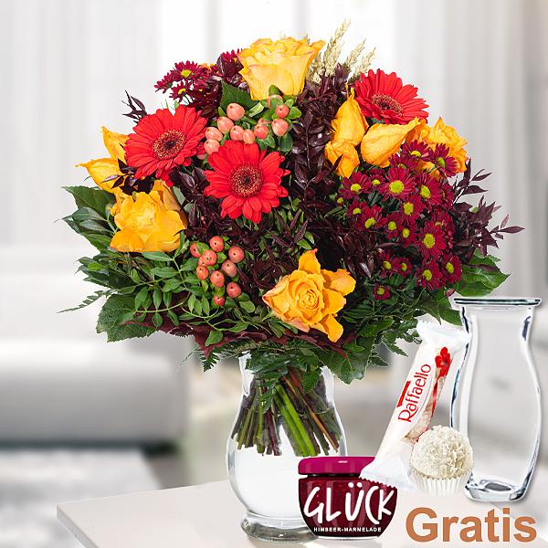 Blumenstrauß Herbstfeuer mit Vase & Ferrero Raffaello & GLÜCK-Marmelade