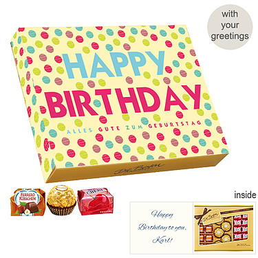 Personal greeting card with Ferrero Die Besten: Happy Birthday
