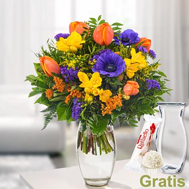 Blumenstrauß Frühlingsbote mit Vase & Ferrero Raffaello