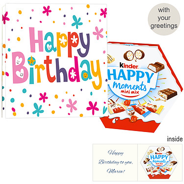 Personal greeting card with kinder Happy Moments Mini Mix: Happy Birthday