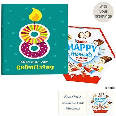 Personal greeting card with kinder Happy Moments Mini Mix: 8th Birthday