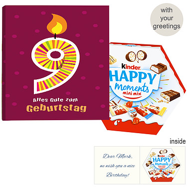 Personal greeting card with Kinder Happy Moments Mini Mix: 9th Birthday