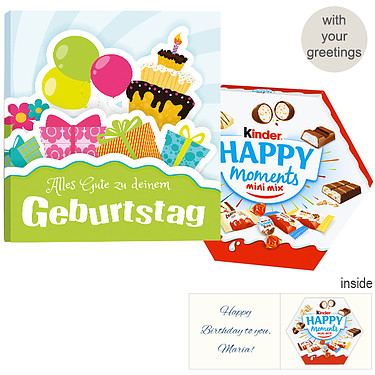 Personal greeting card with kinder Happy Moments mini mix: Birthday