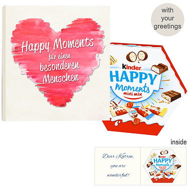 Personal greeting card with kinder Happy Moments mini mix: Happy Moments