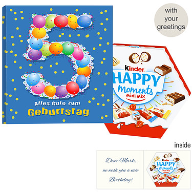 Personal greeting card with kinder Happy Moments Mini Mix: 5th Birthday