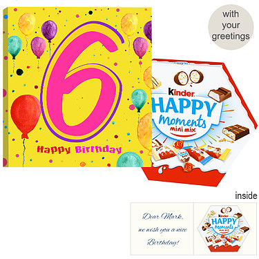 Personal greeting card with kinder Happy Moments mini mix: 6th Birthday