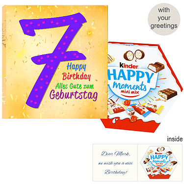 Personal greeting card with kinder Happy Moments mini mix: 7th Birthday