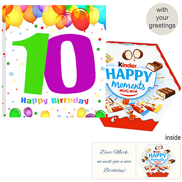 Personal greeting card with kinder Happy Moments mini mix: 10th Birthday