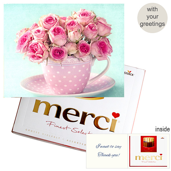Personal greeting card with Merci: Rosen (250g)