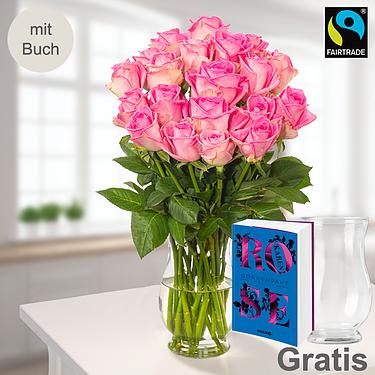 20 pinke Fairtrade Rosen im Bund mit Vase & Buch