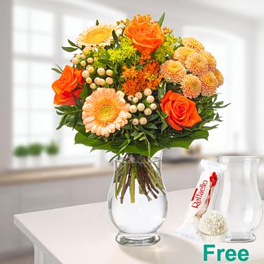 Flower Bouquet Sommerschönheit with vase & Ferrero Raffaello