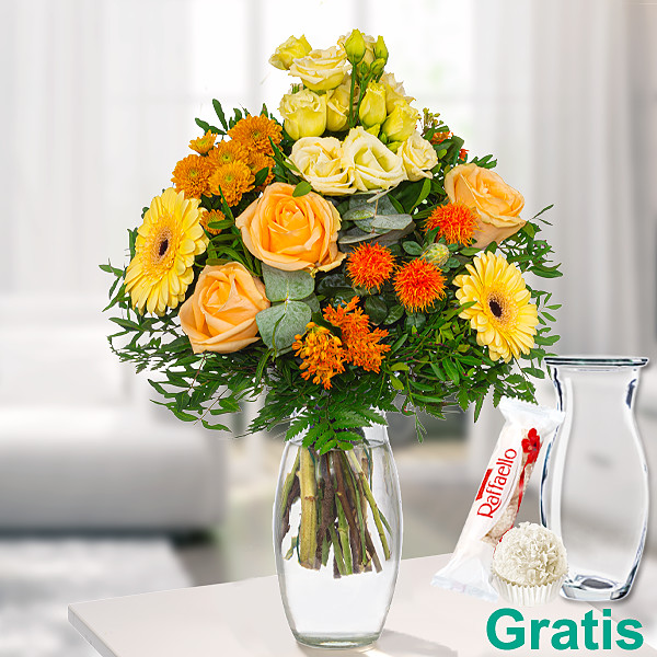 Blumenstrauß Sonnentanz mit Vase & Ferrero Raffaello