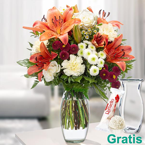 Blumenstrauß Sommertag mit Vase & Ferrero Raffaello