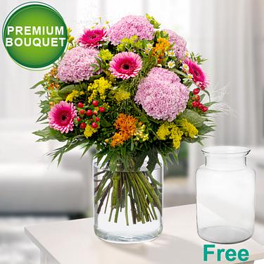 Premium Bouquet Sommerromanze with premium vase