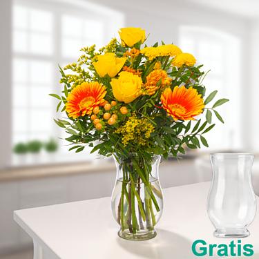 Wiesenstrauß Blumenfreude mit Vase