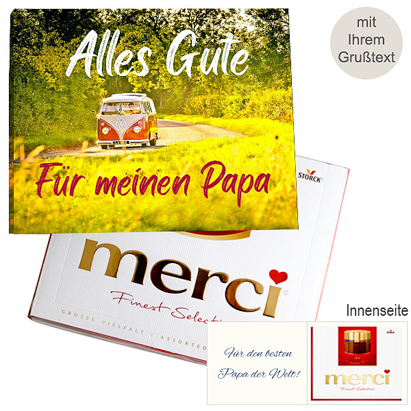 Persönliche Grußkarte mit Merci: Alles Gute. Für meinen Papa (250g)