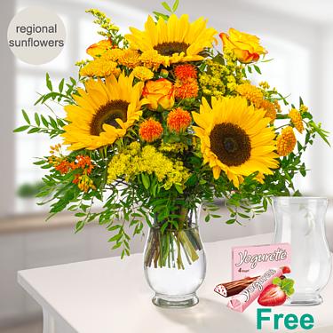 Meadow Bouquet Sunshine with vase & Ferrero Yogurette