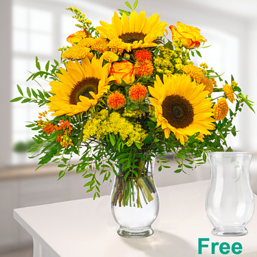 Meadow Bouquet Sunshine with vase
