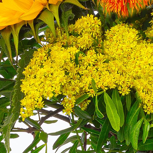 Wiesenstrauß Sunshine mit Vase & Ferrero Raffaello