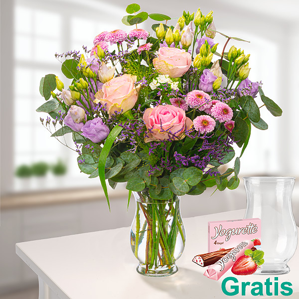 Wiesenstrauß Blütenfreude mit Vase & Ferrero Yogurette