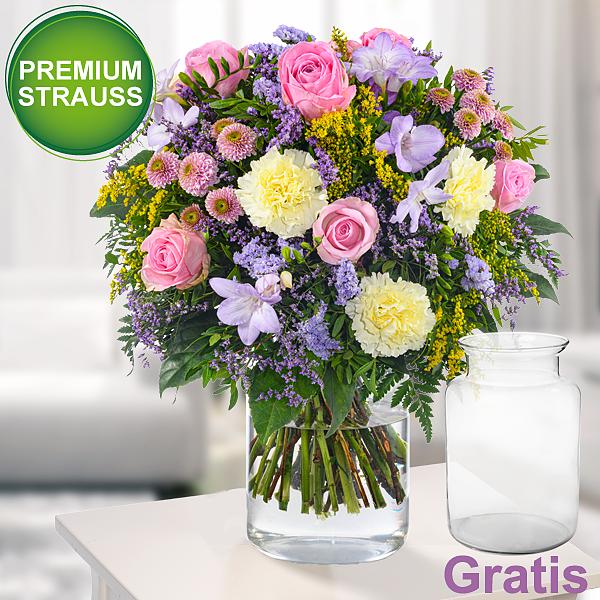 Premiumstrauß Blumenpracht mit Premiumvase