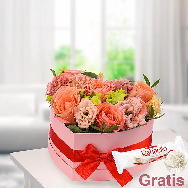 Blumenherz Herzenswärme mit Ferrero Raffaello