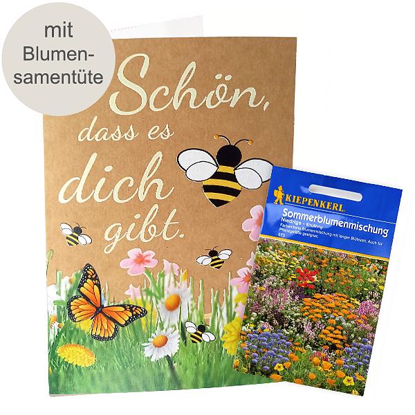 """Motivkarte """"Schön, dass es dich gibt"""" mit Blumensamen"""