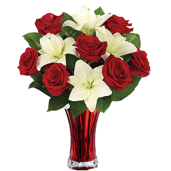 Classic Red Rose and White Lily Bouquet