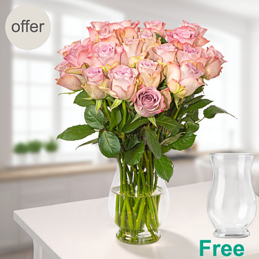 Bunch of 20 pink roses with vase