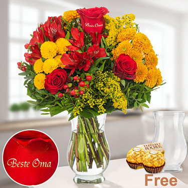 Autumn Bouquet for Grandma with vase & 2 Ferrero Rocher