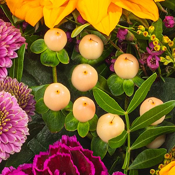 Blumenstrauß Herbstlichtung mit Vase & Ferrero Raffaello