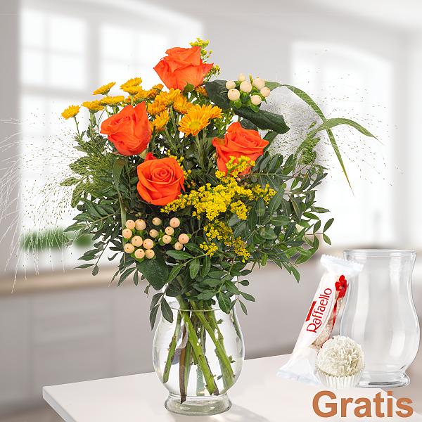 Wiesenstrauß Blumenfreude mit Vase & Ferrero Raffaello