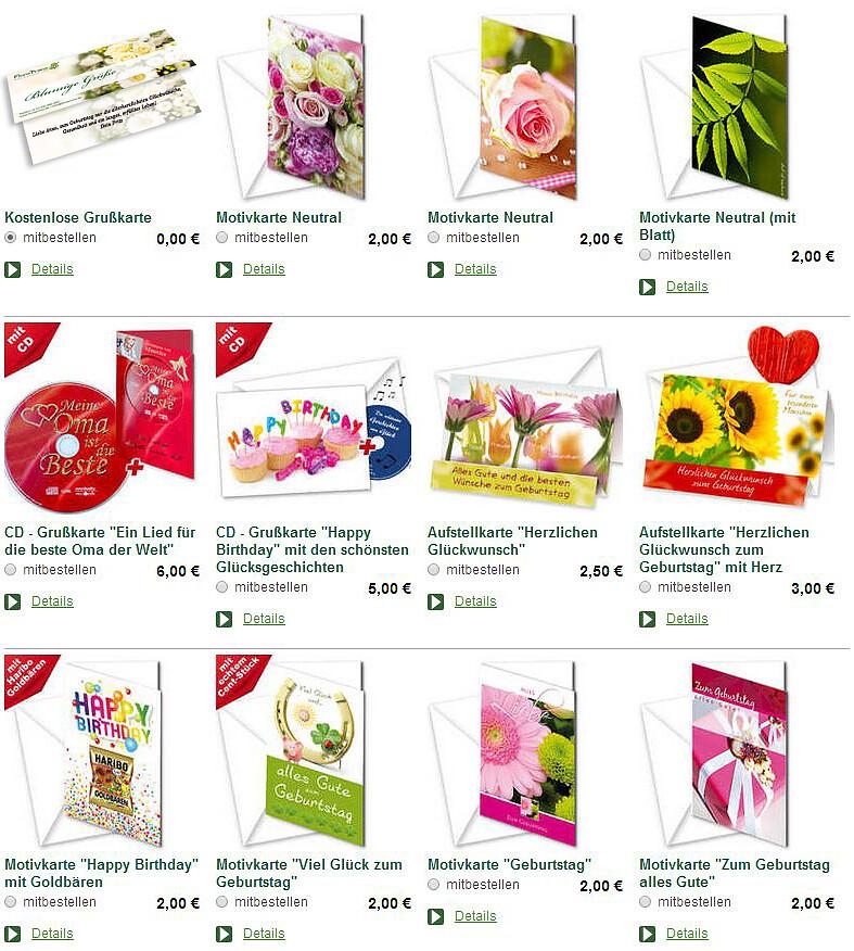 Blumenbestellungen Grusskarten