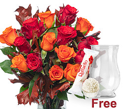 15 red and orange roses